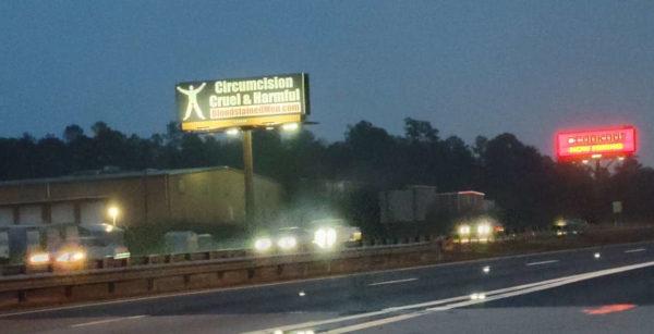 Augusta, Georgia Billboard at Night – Circumcision: Cruel & Harmful