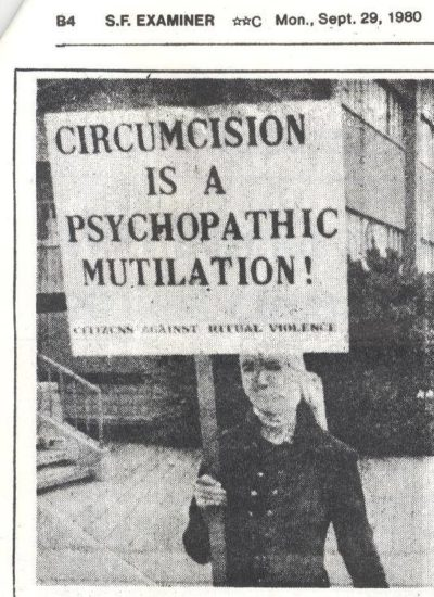 Carole Anne Babyak in action – Circumcision is a Psycopathic Mutilation