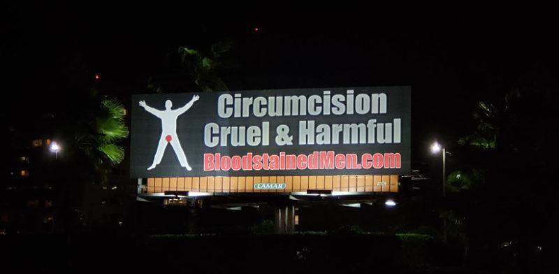 Daytona Beach Billboard at Night – Circumcision: Cruel & Harmful