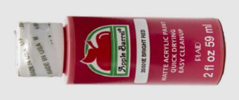 2 fluid ounce bottle of Bright Red Matte Acrylic Paint
